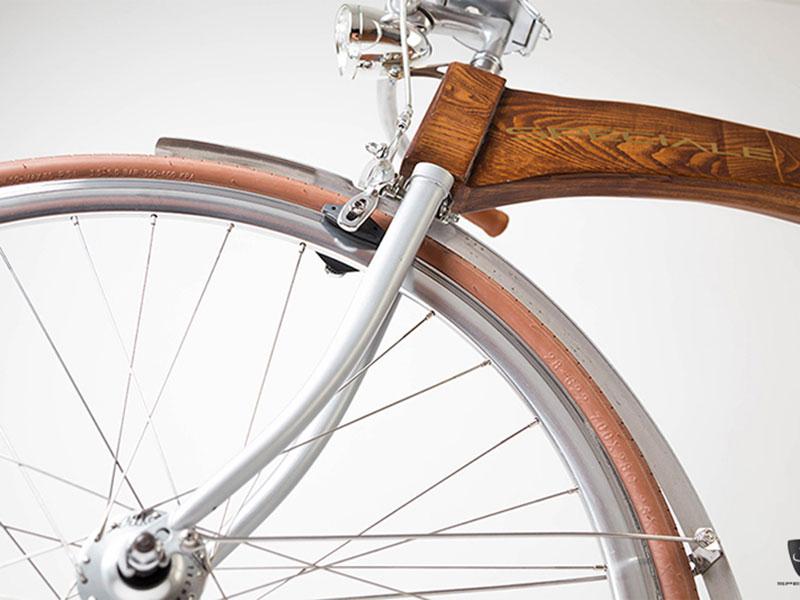 unique bikes speciale como hout detail voorwiel